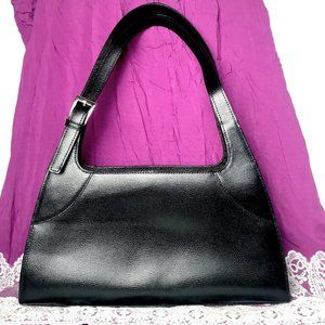 M. London Black Leather  Embossed Handbag Tote